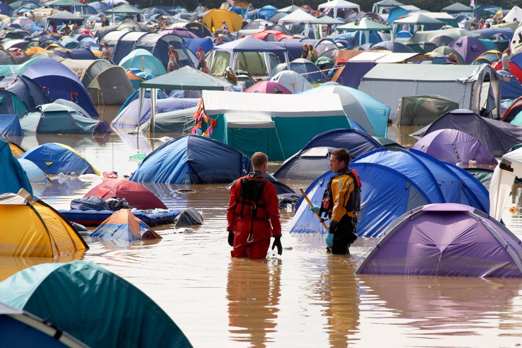 festival, flood, camping